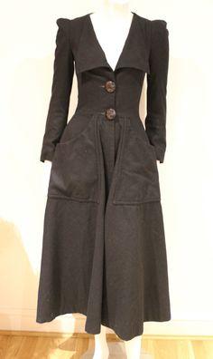 Vintage 70s Original Biba Fit N Flare Black Wool Coat Art Deco Buttons 6 XS | eBay
