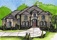 European Style House Plans - 4650 Square Foot Home, 2 Story, 5 Bedroom and 4 3 Bath, 3 Garage Stalls by Monster House Plans - Plan 66-244