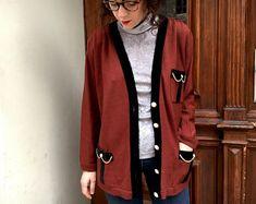 deec76bafd0 Vintage Cardigan 80s Chanel Style Cardigan Velvet Details New Wool Elegant Long  Sleeve Batwing S-M Knitted
