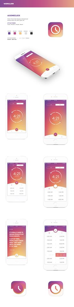 Create a Simple, Clean, Modern, Warm Alarm Clock iOS App by Re Brand Mobile Application Design, Mobile Web Design, Web Ui Design, App Design Inspiration, Layout, Interactive Design, User Interface Design, Ios App, Alarm Clock