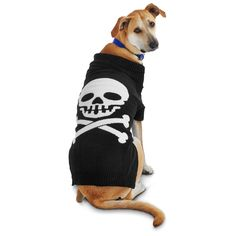 Petco Halloween Black Skull Dog Sweater is the perfect addition to your dog's Fall wardrobe.