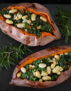 YUM! Savory stuffed sweet potatoes with white beans and kale from The Kitchn