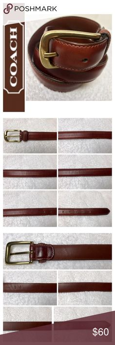"""Coach Signature Leather Belt Coach Signature Smooth Leather Belt in Classic Brown with Brass Hardware, Handcrafted Cowhide, Size 32""""/80cm, Used in Excellent Condition Coach Accessories Belts"""