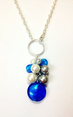 Blue silver pearl bauble necklace by KananiKouture on Etsy, $12.00    BYU Cougars College Football  Detroit Lions Football colors