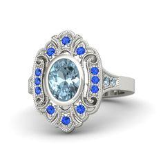 Oval Aquamarine 14K White Gold Ring with Sapphire & Aquamarine | Arya Ring | Gemvara