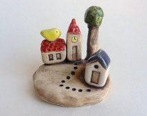 clay houses, ceramic houses, miniature house, tiny house, clay house,handmade ceramic house, pottery house, housewarming, small building