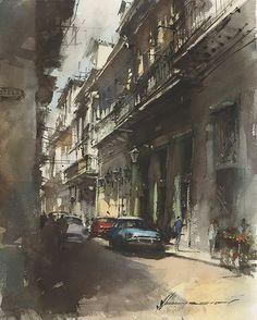 Old cars by Vladislav Yeliseyev Watercolor ~ 20 x 16