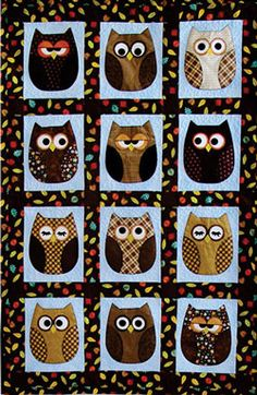 Mix and match fat quarters, dig deep into your stash for scrappy owls or try making a quilt in pastels (which would be perfect for Baby& room! So much fun and a great way to perfect your applique technique(s), this pattern includes full-size templ. Owl Quilts, Bird Quilt, Cute Quilts, Animal Quilts, Small Quilts, Baby Quilts, Owl Quilt Pattern, Bed Quilt Patterns, Owl Patterns