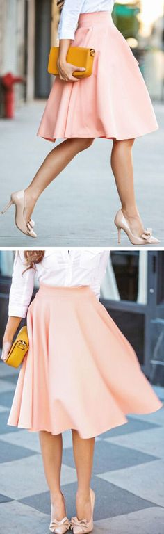 Coral Swing Skirt & Bow Pumps ❤︎