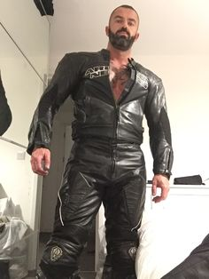 """"""" My Arlen ness leathers """" tough looking black leather biker Motorcycle Suit, Motorcycle Leather, Biker Leather, Black Leather, Mens Vans Shoes, Vans Men, Mens Leather Pants, Leather Gloves, Motorbike Leathers"""