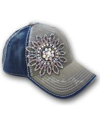 Olive & Pique Bling Flower Baseball Hat in Moss/Navy