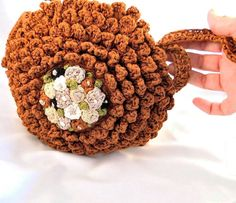 Clutch chocolat Crochet and embroidery  by pipocass on Etsy