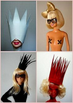 Lady GaGa Barbies?!?!?!! Emma would die for these! We'd have to throw a shirt on the top right one but otherwise these are perfect!! I NEED THEM.