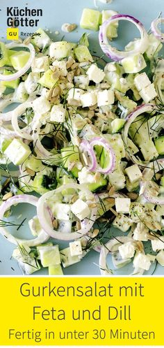 Cucumber salad with feta and dill - a classic that never gets boring: . - Cucumber salad with feta and dill – a classic that never gets boring: … – - Pasta Recipes, Salad Recipes, Dinner Recipes, Queso Feta, Cucumber Salad, Feta Salad, Food For A Crowd, Clean Eating Recipes, Vegetarian Recipes