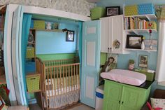 "A nursery nook~ this is cute, but i""m not sure I'd want to put a baby in a closet"