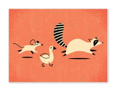 """""""Follow that Tanooki suit!"""" - raccoon, mouse, and duck illustration"""