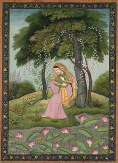 Virhini Nayika, Love-Torn Heroine , c. 1800 India, Pahari Hills, Kangra school, late 18th-early 19th Century | Cleveland Museum of Art