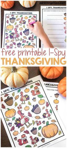 Free Thanksgiving I-Spy Printable Game for Kids