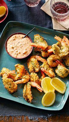 Crumbed prawns with thousand island dressing