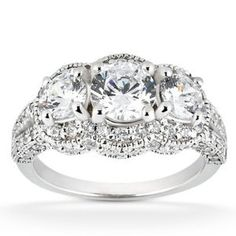 Real 2.25ct Vintage Diamond Engagement Ring Pave Antique White Gold Round Womens:Amazon:Jewelry
