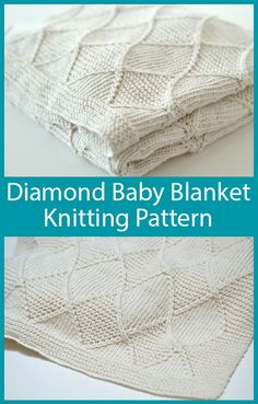 Knitting Pattern for Diamond Baby Blanket - Baby blanket with a design of diamond cable, stockinette, and garter stitch. The written instructions are to make a baby blanket that is is approximately 25 Baby Knitting Patterns, Free Baby Blanket Patterns, Crochet Blanket Patterns, Baby Patterns, Easy Knit Baby Blanket, Baby Shawl, Knitted Baby Blankets, Cable Knit Blankets, Baby Design
