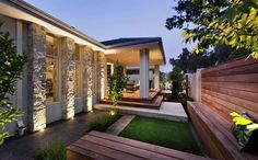 FB Architecture & Design - Avalon House - Outside Side Porches, Avalon House, Australia House, Storey Homes, Display Homes, Facade House, Back Gardens, House Rooms, House 2