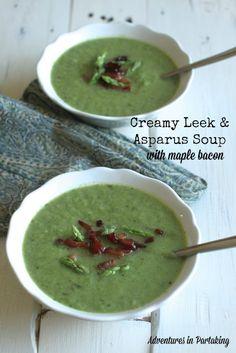 Creamy Leek & Asparagus Soup with Crispy Maple Bacon {AIP, Paleo}