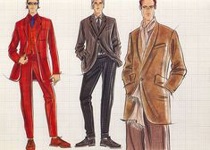 Male casual wear: suits and jackets.  This copyrighted image is the work of British Fashion Illustrator Hilary Kidd