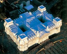 Wrapping the Reichstag, Berlin, 1995 by Christo & Jeanne-Claude. Find out more about this work here: http://galleryoflostart.com/#/7,17