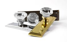 #Waldorf #Crystal #Door #Knobs with #Brass #Backplates in a Variety of Finishes