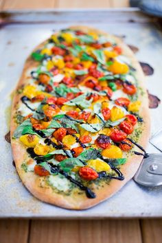 Feasting at Home: Caprese Pizza with Oven Roasted Tomatoes