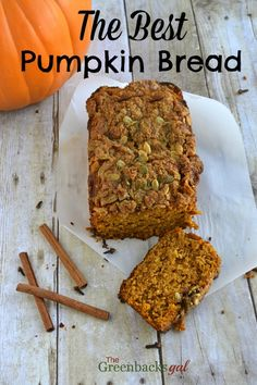 This is the Best Whole Grain Pumpkin Bread. The recipe uses 100% whole wheat flour and replaces some sugar with honey. All topped with a crunchy pepita streusel.