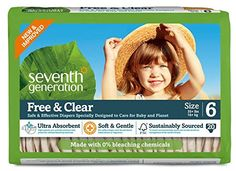 Affordable Seventh Generation Free and Clear, Unbleached Baby Diapers, Size 6, 100 Count