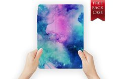 ipad air case leather smart cover pink blue space for ipad mini ipad air 1 2 3 4 pro retina display pro watercoloruniverse-07pinkblue