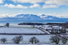 Looking over West Kilbride, North Ayrshire towards the Isle of Arran in the snow Edinburgh City Centre, Glasgow City, Isle Of Islay, Isle Of Arran, Melrose Abbey, Highlands Terrier, Winter Sun, Over The River, Image Caption