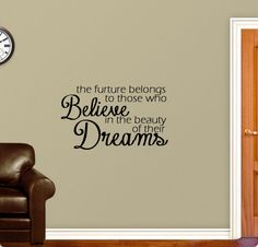 Believing In Your Dreams - Wall Decal $24.00 Dream Wall, Believe In You, Wall Decals, Dreaming Of You, Dreams, Handmade Gifts, Beauty, Etsy, Home Decor