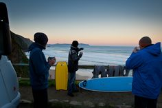 Day 3. Check the spot (Campelo), enjoy a quick coffee, and everybody in the sea! Read more on http://www.tribord.com/en/blog/all/Galicia%20surftrip?utm_source=pinterest