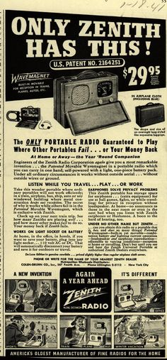 Vintage Zenith Ad - 1941