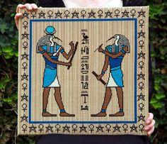 Thoth Egyptian cross stitch kit by Threefold Designs