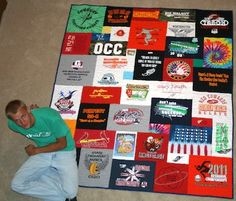 tee shirt quilt.... My husband needs to retire some shirts!!
