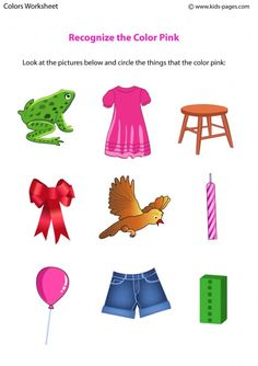 Recognize the Color Pink - Colors Worksheet for Kids | Center ...