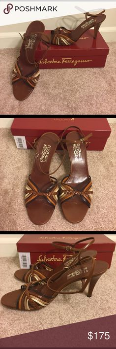 """Salvatore Ferragamo Brown Braided Sandal with Heel Gorgeous heeled brown leather sandals by Salvatore Ferragamo. Multi-colored striped with braided detailing. 2"""" Heel. Great condition with minor wear. Comes in original box with dust bag! Size 10C 7cm Salvatore Ferragamo Shoes Sandals"""