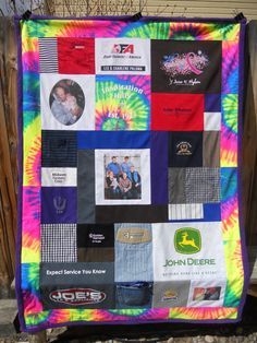 T Shirt and Clothing Memory Blanket created by www.mossembroidery.com  Has a tye dye Tshirt border.
