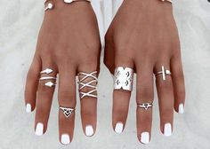Valencia Boho Silver Ring Set of 8