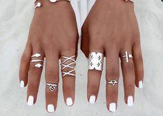 Valencia Boho Silver Ring Set of 8