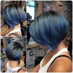 blue highlights on black hair @RachelRingwood | Hair Ideas | Pinterest |  Bobs, Blue bob and Bob hairs