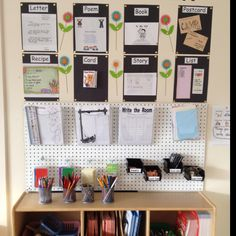 Writing Center Idea - I love this because it shows how the teacher did a center without a large footprint of classroom space.