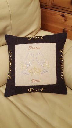"12"" Cushion using machine embroidery."