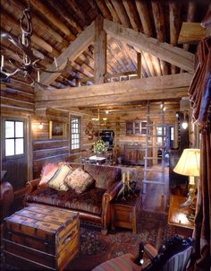 blackcupcakekitty: love these log cabin interiors ………
