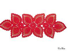 Red Christmas rectangular doily Christmas crochet Centrino